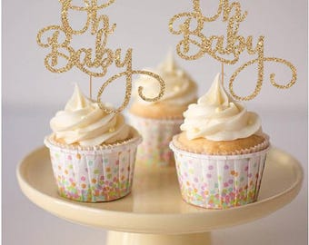 Oh Baby Cupcake Toppers - Set of 12 - for Baby Shower, Gender Reveal Party, Birthday Party - Gold Glitter Cupcake Toppers