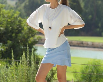 Oversize White Women's Top, White Loose Blouse, Bell Sleeves Women Top, Short Sleeves Blouse, Wide puff sleeves Top, Elegant White Shirt