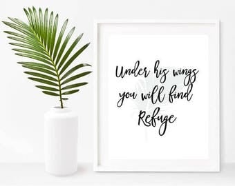 Bible Printable, Under His Wings You Will Find Refuge, Printable Art,  Bible Verse, Christian Wall Art, Instant Download, Wall Decor