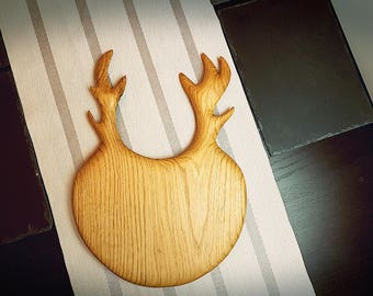 Cheese board, serving board with antlers