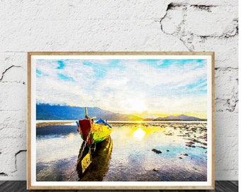 Ocean Beach Water Wall Art, copie imprimable moderne plage, sable, vagues, abstrait photographie en couleurs, côtière,