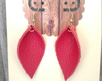 Soft Folded Red Leather Hanging Earrings