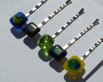 Set of 5 bobby pins with kiln fused art deco millefiori, apple green and iridized glass set in gold tone standard length pins