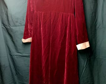 Burgundy Sheer Long Sleeve Dress