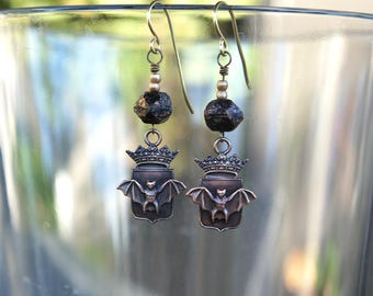 Crowned Bat Shield Heraldic Earrings with Black Glass Beads French Brass Antique Vintage Style
