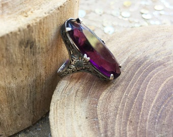 Vintage Amethyst-hued Gothic Lolita Ring