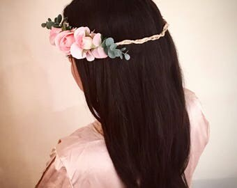 Half Flower Crown, floral crown, flower headband, pink flower crown, pastel flower crown, wedding flower crown, baby flower crown, headband