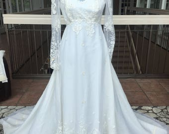 Long Sleeved Vintage Wedding Empire Waisted Gown #454