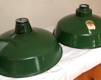 Pair of Abolite Reflector Dark Green Enamel Shades/Gas Station Shades/Industrial Shades/Farm Shades/Industrial Chic