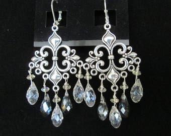 Silver Chandelier Swarovski Crystal Teardrop Earrings
