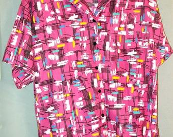 "Bubblegum Pink 60s Atomic Abstract Print Tunic Button Front Shirt Dress Plus Size Medium 42"" Waist Short Sleeve Midcentury Modern California"