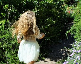 Eco lace and tulle flower girl dress 'Madeleine'