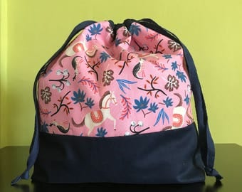 """Handmade drawstring bag / pouch for knitting crochet project 10.75"""" x 8.5"""" x 3"""" *Circus Horses Pink 2*"""