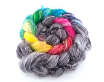 SW Merino/Bamboo/Nylon 'PRISM BREAK' 4oz  wool roving, hand dyed, spinning fiber, combed top