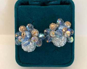 Vendome Earrings Blue Crystal Art Glass 1950s Elegant Vendome Clip Earrings Mid Century Jewelry