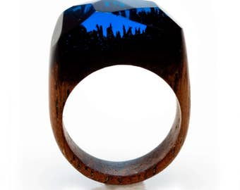 """Gift for Woman Ring Merbau Wood and Resin """"Night Life """" Resin Jewelry Natural Wood Jewelry Gift For Her Unique gift Handmade Wood Ring"""