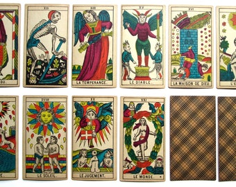 1880 Edition Swiss Classic Tarot Marseilles 77/78 Schaffhouse Painted Stencils Rare Antique