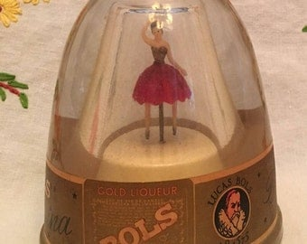 Vintage Bols Gold Liqueur Dancing Ballerina Music Box Bottle plays Bleu Danube - Works fine Never opened Advertising