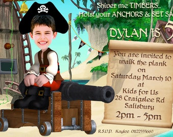 Pirate Birthday Party Invitation, Photo invitation, Jake the pirate invitation,  Pirates Invitation, Pirate party,  DIY Digital Printable