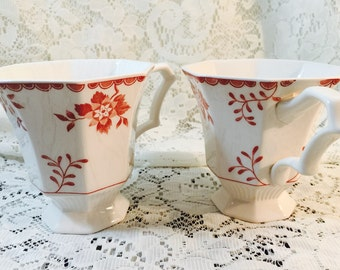 Nikko Footed Teacups In Bittersweet - Classic Collection - Red and White (2) - With Two White Saucers
