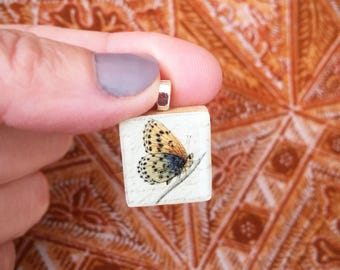 Butterfly Pendant/ Scrabble Tile Pendant/ Handmade OOAK Pendant/ Vintage Illustration Necklace