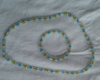 Green and blue choker/necklace with bracelet