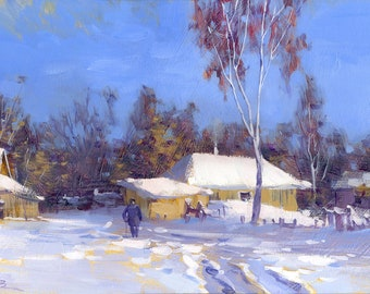 Wall Art Oil painting Canvas Art Modern Painting Wall Decor Bedroom Décor Winter painting Landscape painting Rustic painting winter village