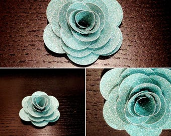 Set of 6 Light Blue Glitter Sparkle Cardstock Roses Handmade Paper Flowers 2 1/2 Inches for Bouquets Scrapbooking Decor
