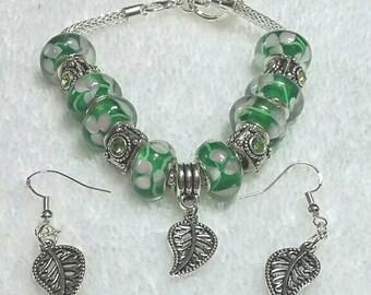 "European Style Murano 7.1"" Green Leaf Charm Bracelet"