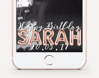 24 Hour Turnaround! Snapchat Birthday Geofilter, Rose Gold Birthday Filter, Foil Balloon Birthday, Birthday Geofilter, Birthday Filter