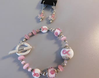 Breast Cancer Awareness Bracelet and Earrings