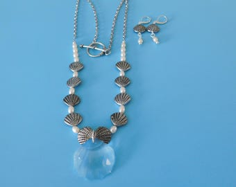 Shell and Pearl Necklace and Earrings
