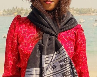 cotton and silk scarf / shawl