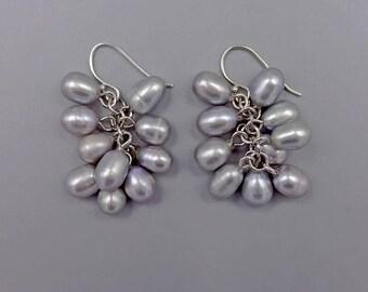 """1.5"""" Gray Pearl Cluster earrings"""