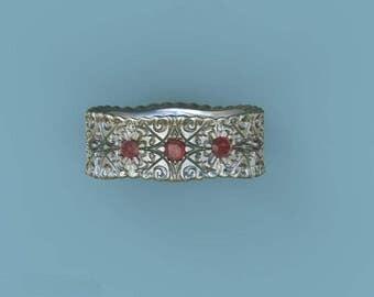 wedding ring wedding band ruby sapphire blue topaz aquamarine amethyst garnet tanzanite peridot citrine iolite tourmaline YB200S