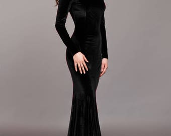 Black velvet dress, Black dress, special occasion dress, Sexy dress, Long dress, Maxi dress, Evening dress, mermaid, open shoulders