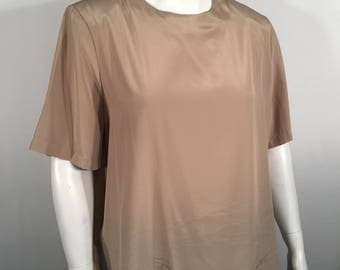 Modern Essential Plus Size 22W Vintage Beige Short Sleeve Dress Blouse