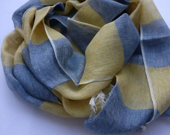 Handwoven blue and brown linen scarf