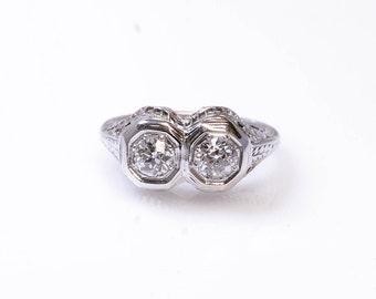 18K Old European Cut Double White Diamond Vintage Ring