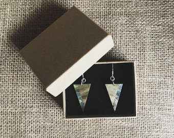 Handmade Sterling Silver with Jamaican Blue Mahoe and Stabilised Blue Maple Lignum Earrings