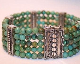 Turquoise & Bali Sterling silver bracelet