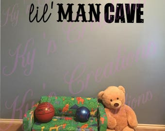 Lil' Man Cave wall decal; Boy's room wall decal; man cave wall decal for play room; wall decal