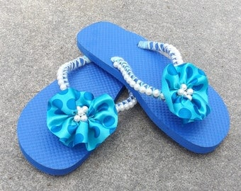 Blue with White Beads Flip Flop