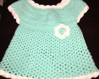 Crochet turquoise baby dress 3 to 6 months