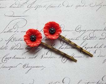 Red Poppy Flower Bobby Pin Set - Flower Hair Pins -  Vintage Style Hair Accessories