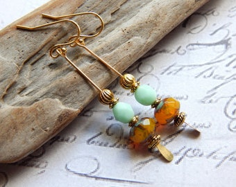 Long Paddle Pin Czech Glass Earrings - Yellow Opal, Pale Mint and Gold Earrings - 14K Gold Plated Ear Wires