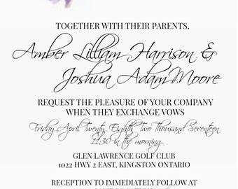Floral Watercolour Wedding and Party Invitation **Digital Download**