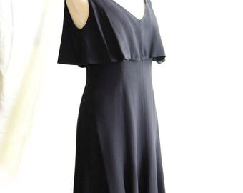 1960's Black Dress with Vneck and Bib neckline
