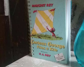 Curious George Flies A Kite: Rare Hard Cover Children's Recycled Notebook, Journal, Scrapbook, or Sketch Pad