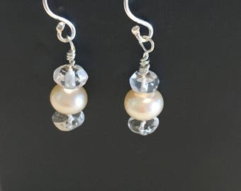 Dainty Pearl and Quartz Earrings